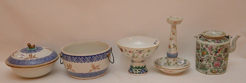 "5 Pieces Chinese Porcelain.  Candlestick Ht. 8 1/2"","