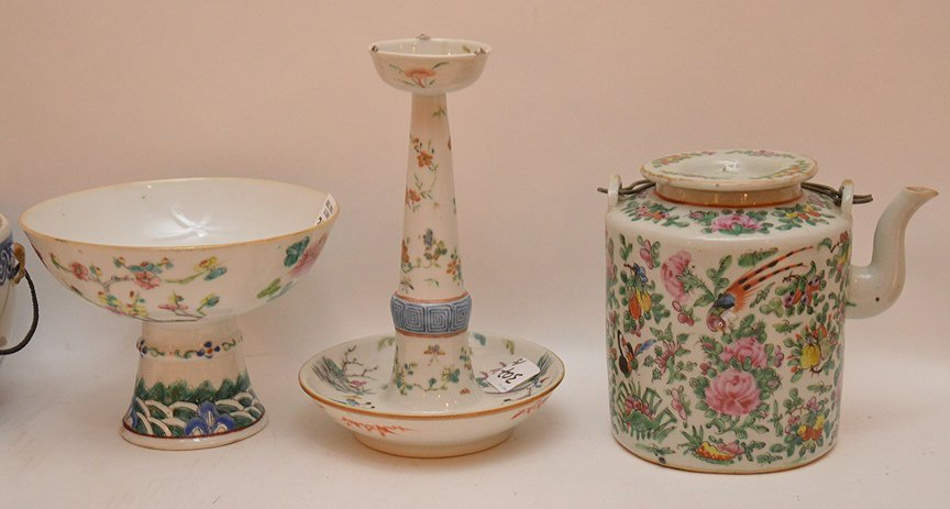 "5 Pieces Chinese Porcelain.  Candlestick Ht. 8 1/2"", - 2"