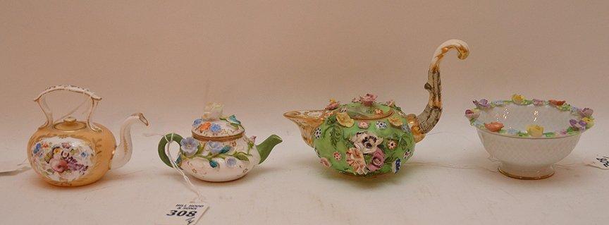 3 Antique German Porcelain Miniature Teapots. 1 Meissen