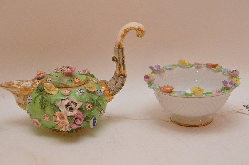 3 Antique German Porcelain Miniature Teapots. 1 Meissen - 2
