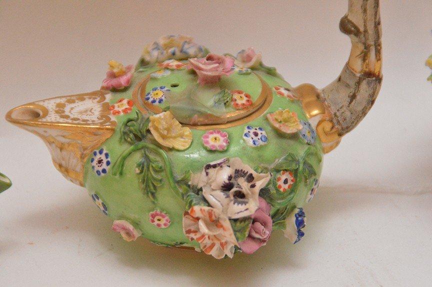 3 Antique German Porcelain Miniature Teapots. 1 Meissen - 3