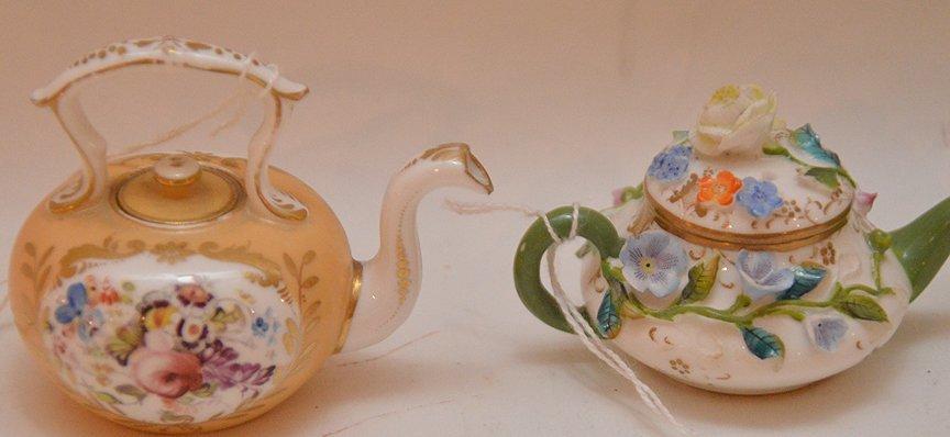 3 Antique German Porcelain Miniature Teapots. 1 Meissen - 4