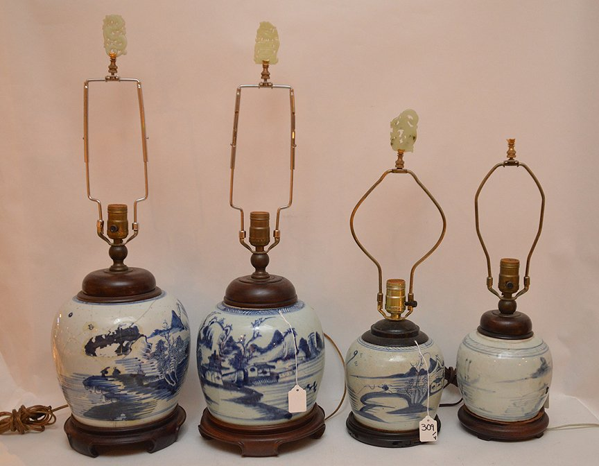4 Chinese Porcelain Blue & White Ginger Jar Lamps.