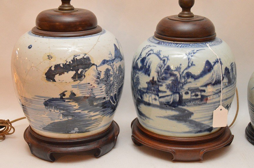 4 Chinese Porcelain Blue & White Ginger Jar Lamps. - 2