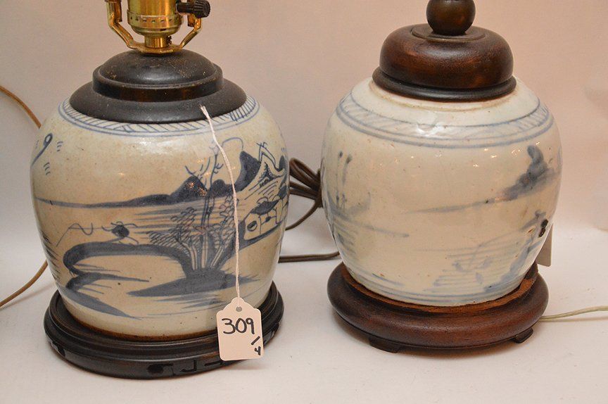 4 Chinese Porcelain Blue & White Ginger Jar Lamps. - 3