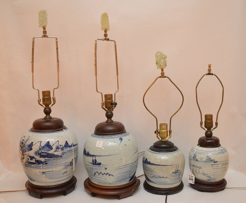 4 Chinese Porcelain Blue & White Ginger Jar Lamps. - 5