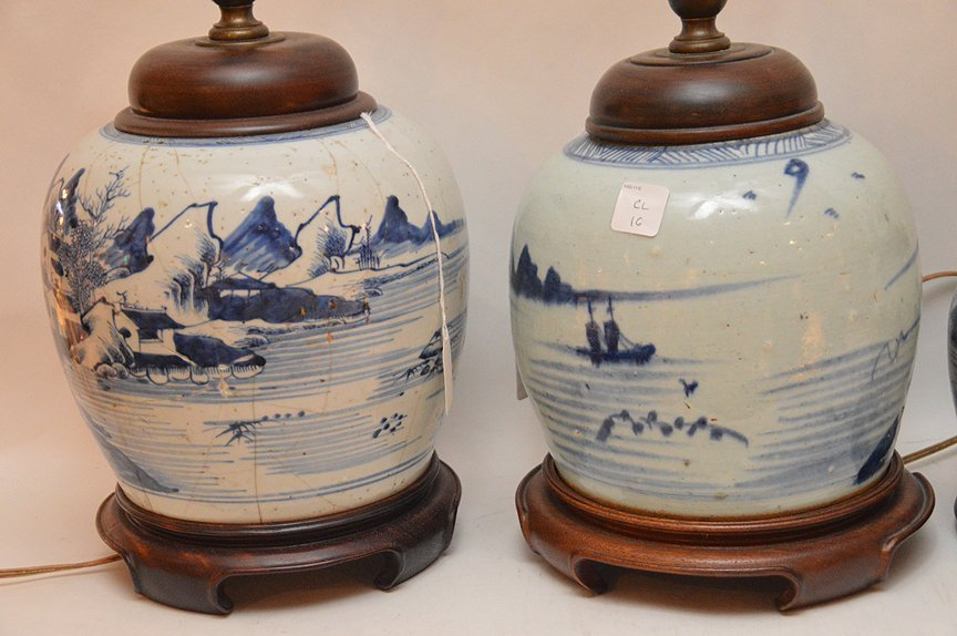 4 Chinese Porcelain Blue & White Ginger Jar Lamps. - 6