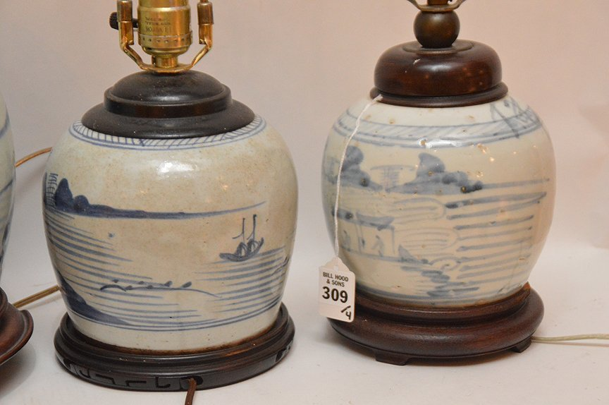 4 Chinese Porcelain Blue & White Ginger Jar Lamps. - 7