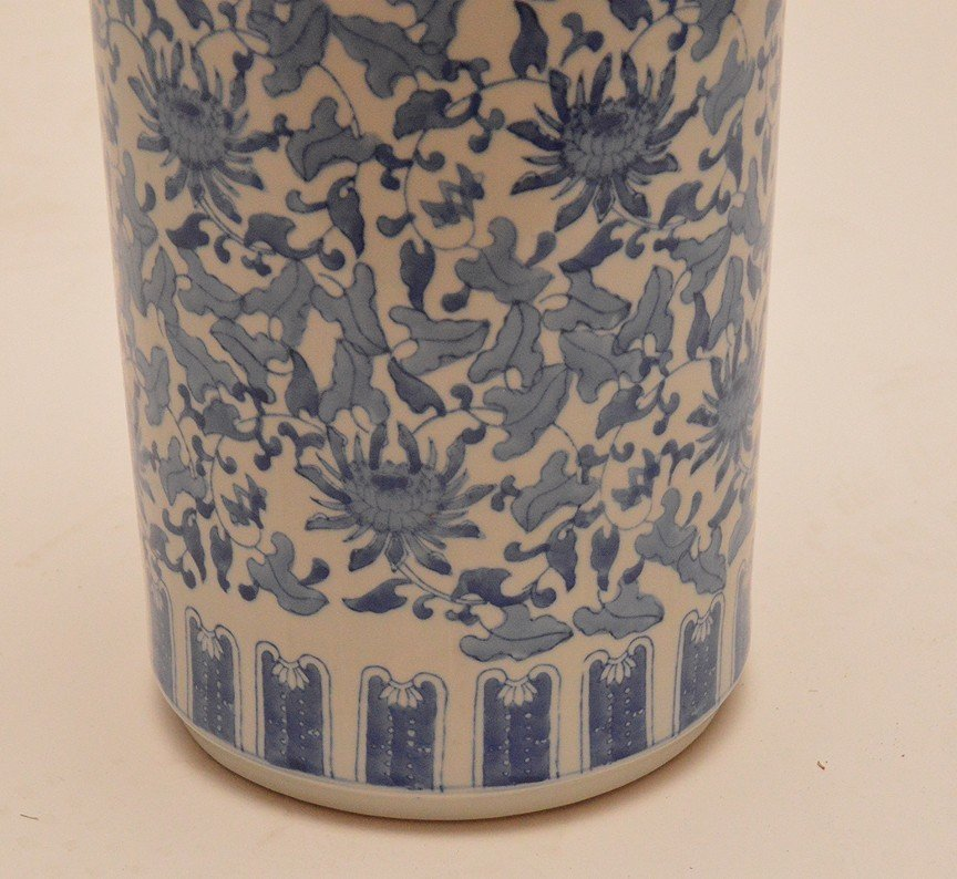 """Chinese Porcelain Blue & White Umbrella Stand. Ht. 18"""" - 2"""