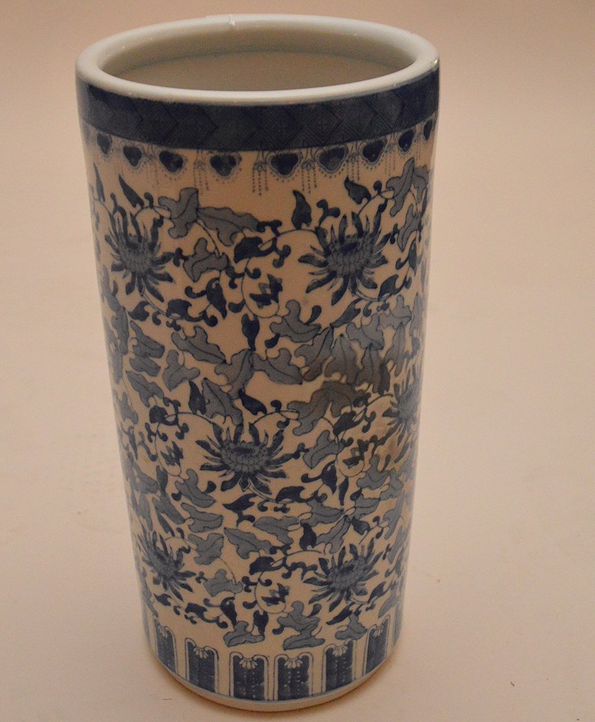 """Chinese Porcelain Blue & White Umbrella Stand. Ht. 18"""" - 3"""