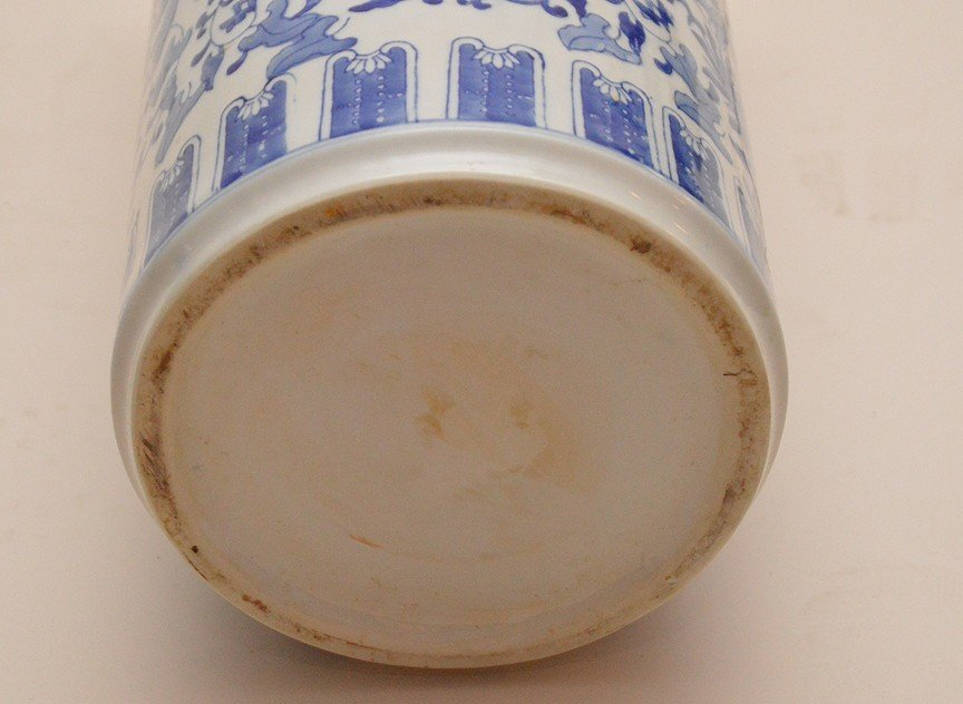 """Chinese Porcelain Blue & White Umbrella Stand. Ht. 18"""" - 4"""
