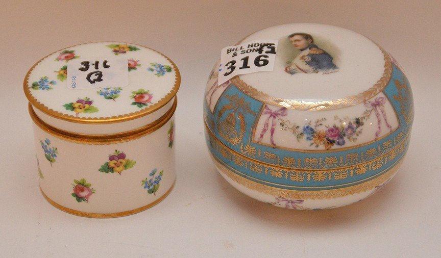 2 covered boxes, small Minton & Napoleon
