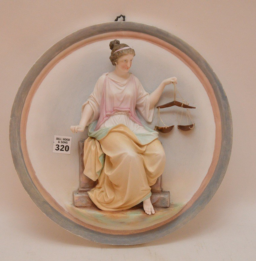 "Bisque circular wall plaque, 12""dia"