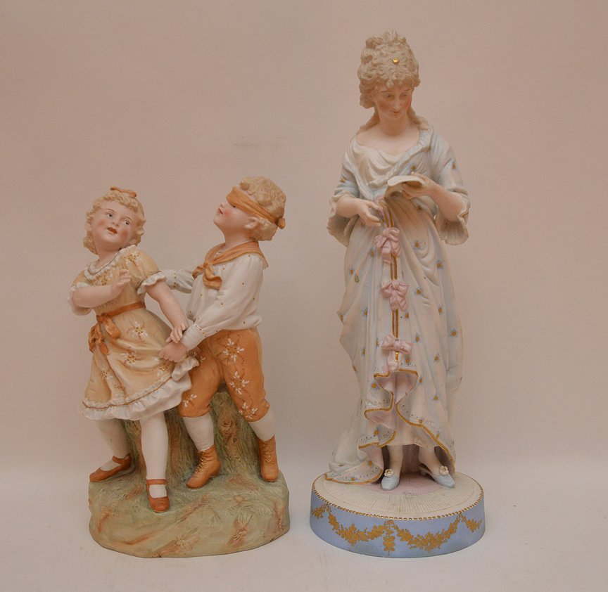 "2 bisque figures, children playing & woman, 13""h  & 18"