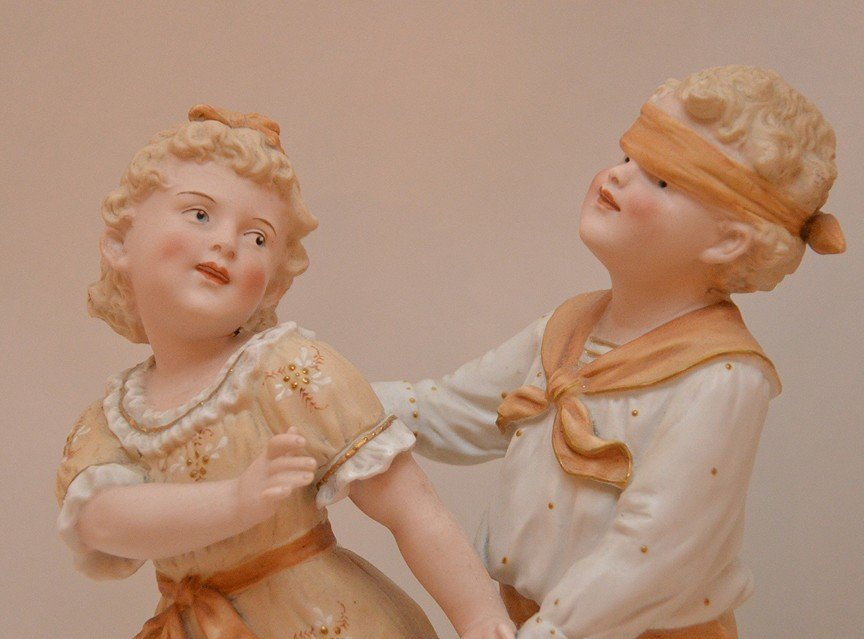 "2 bisque figures, children playing & woman, 13""h  & 18 - 2"