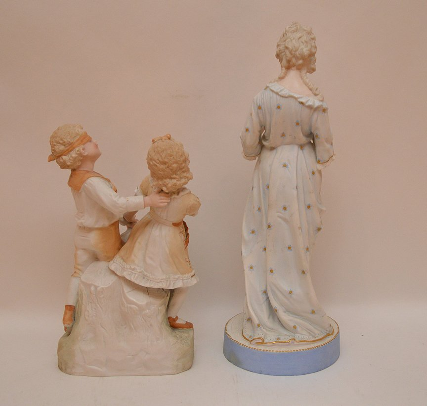 "2 bisque figures, children playing & woman, 13""h  & 18 - 4"