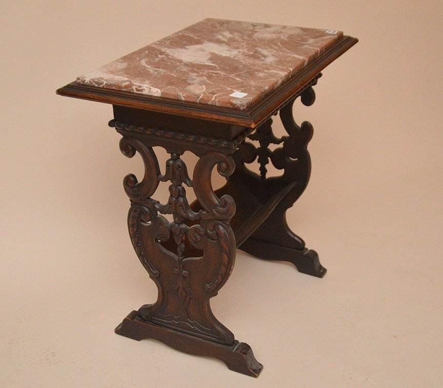 Marble top trestle style end table with book rack - 3