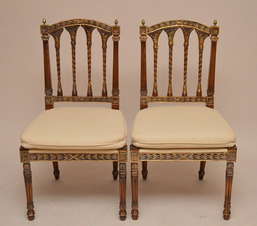Pair Fruitwood carved unusual spindle back side chairs