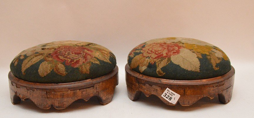 """Pair Continental needlepoint stools, 4""""h x 11""""w"""