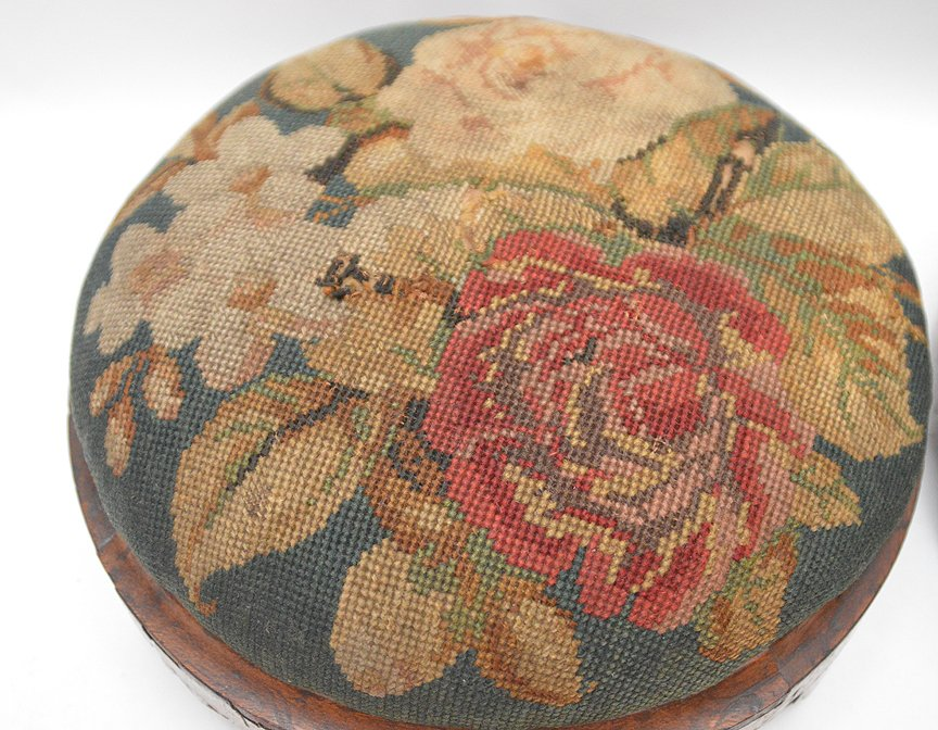 """Pair Continental needlepoint stools, 4""""h x 11""""w - 2"""