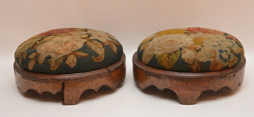 """Pair Continental needlepoint stools, 4""""h x 11""""w - 3"""