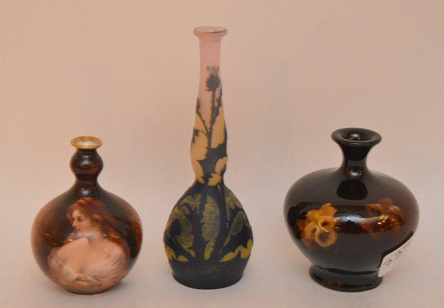 """Mini Rookwood vase (3 3/4""""h), mini German portrait vase"""