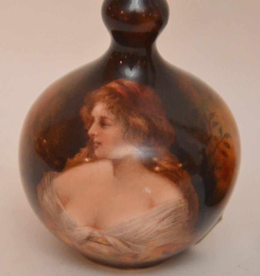 """Mini Rookwood vase (3 3/4""""h), mini German portrait vase - 2"""