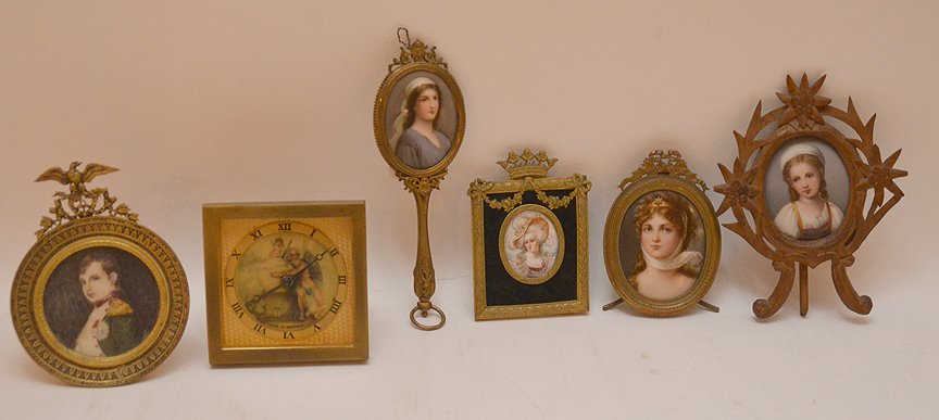 5 miniature portraits on porcelain each with brass or