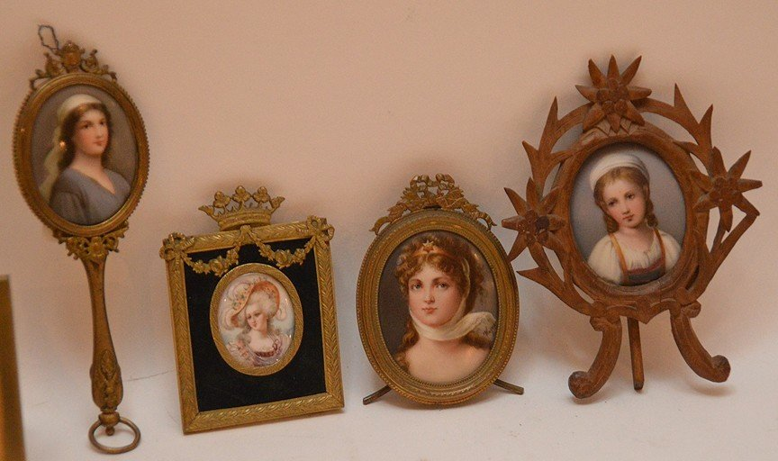 5 miniature portraits on porcelain each with brass or - 2