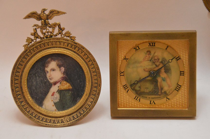 5 miniature portraits on porcelain each with brass or - 3