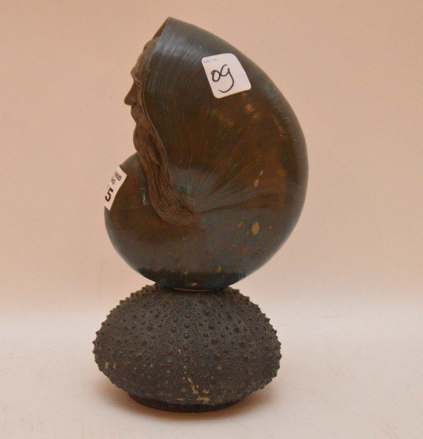 Bronze Patina Nautilus face on a sea urchin base, 1993, - 4