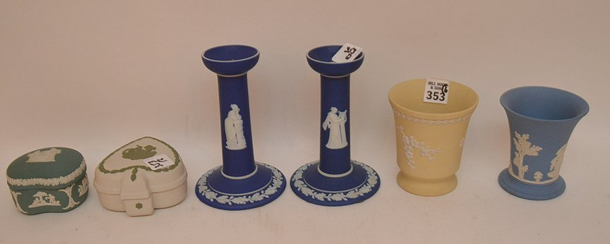 Lot of 6 pieces, incl; pair of candle holders (6