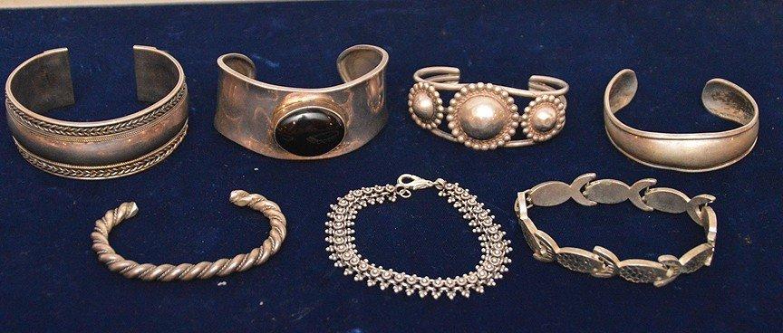 (7) sterling silver assorted bracelets