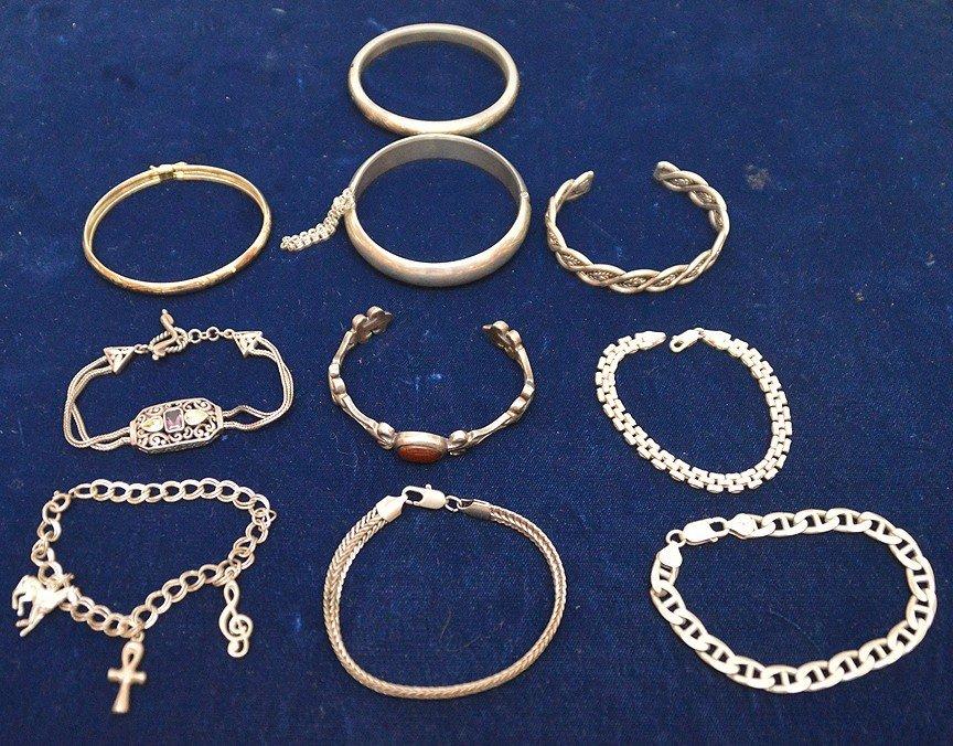 (10) assorted sterling bracelets
