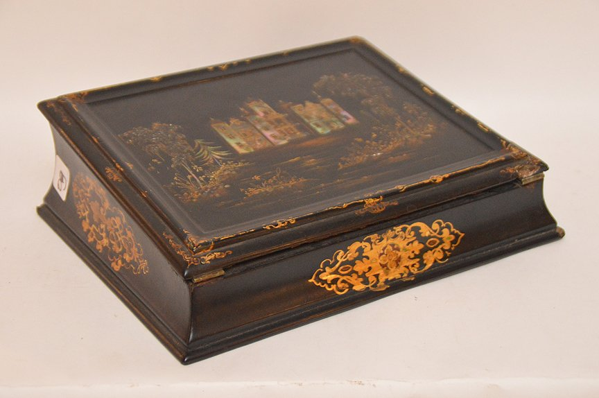 Antique Black Lacquer Lap Desk inlaid with mother of