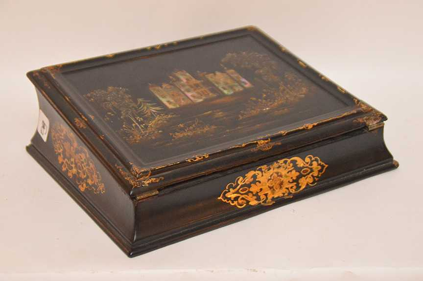- Antique Black Lacquer Lap Desk Inlaid With Mother Of
