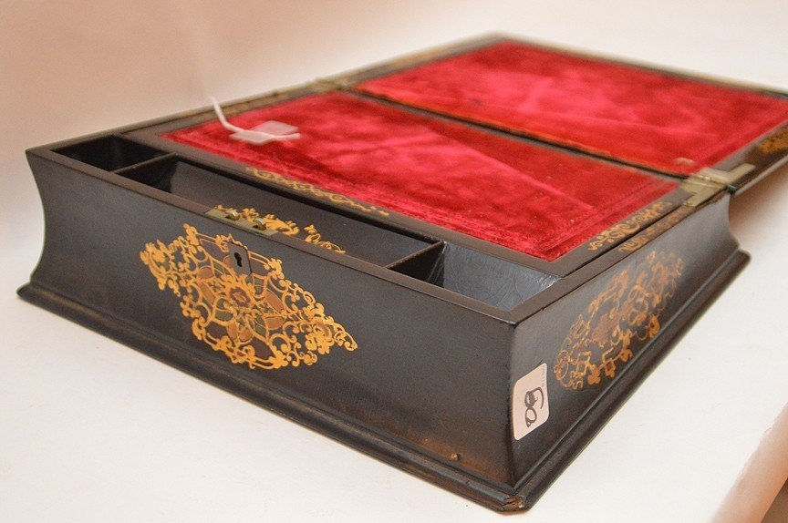 Antique Black Lacquer Lap Desk inlaid with mother of - 4
