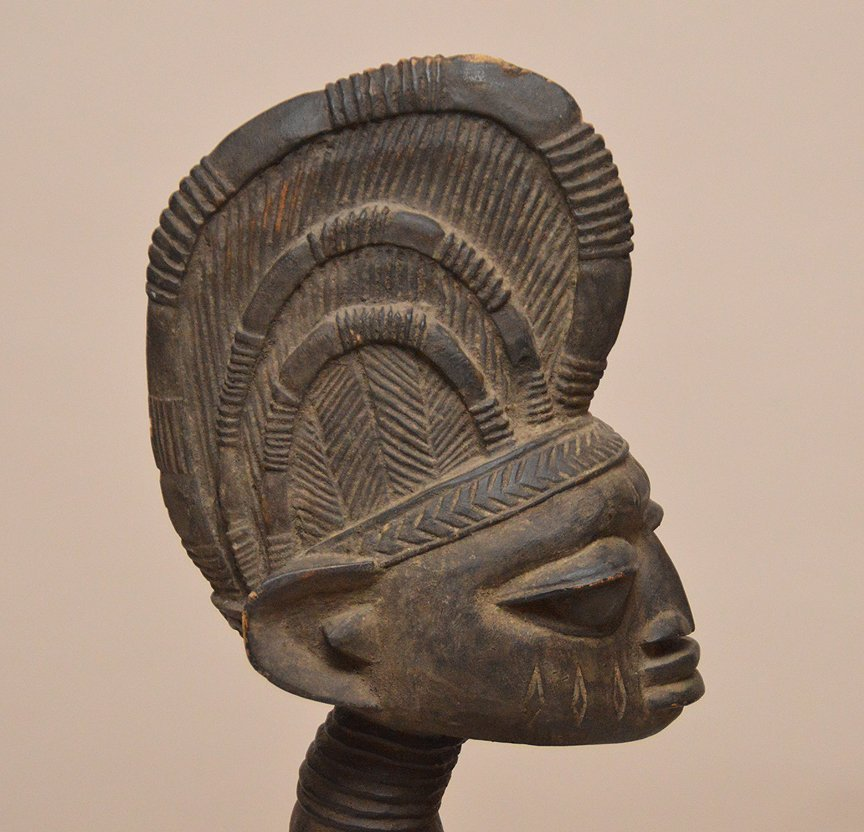 """Carved African figure, 46""""h - 3"""