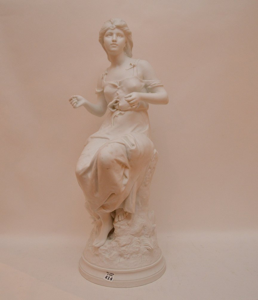"""Bisque seated girl, 26""""h (chip on rim)"""