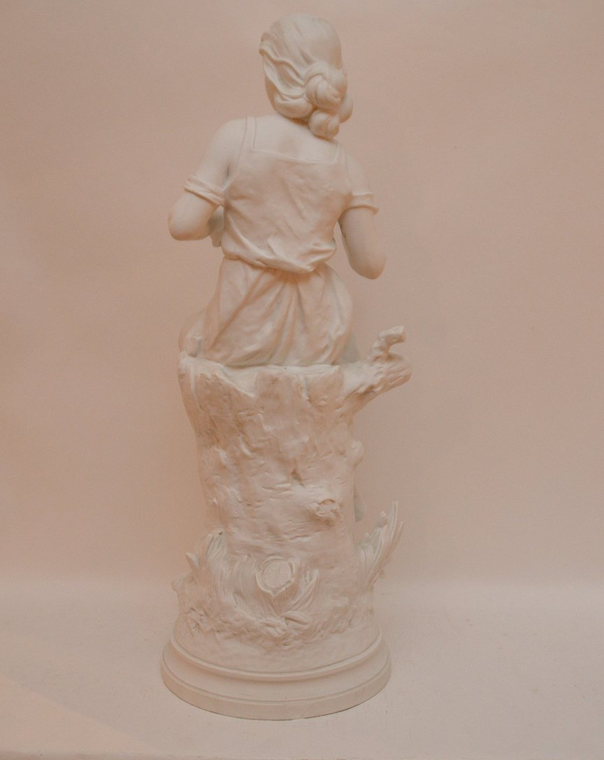 """Bisque seated girl, 26""""h (chip on rim) - 5"""