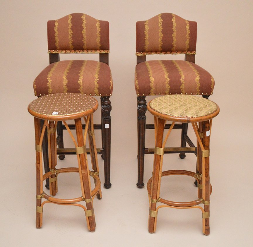 Pair of rattan stools and pair of upholstered bar