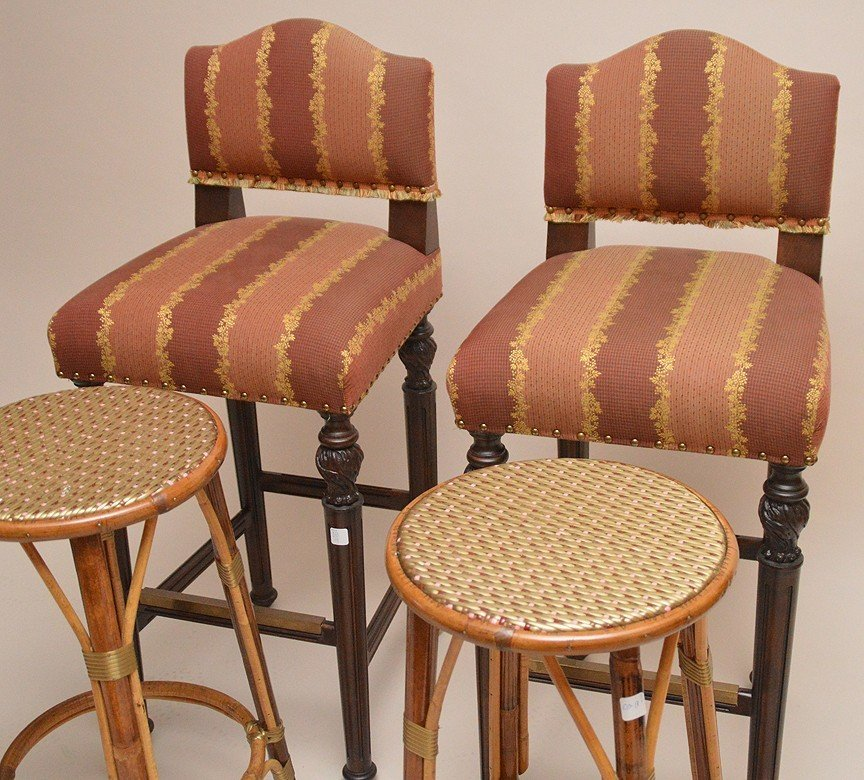Pair of rattan stools and pair of upholstered bar - 2