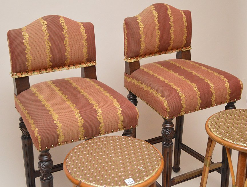 Pair of rattan stools and pair of upholstered bar - 3