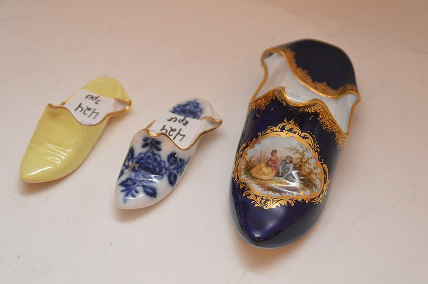 3 Meissen Porcelain Shoes.  Largest Lth. 6 1/2""