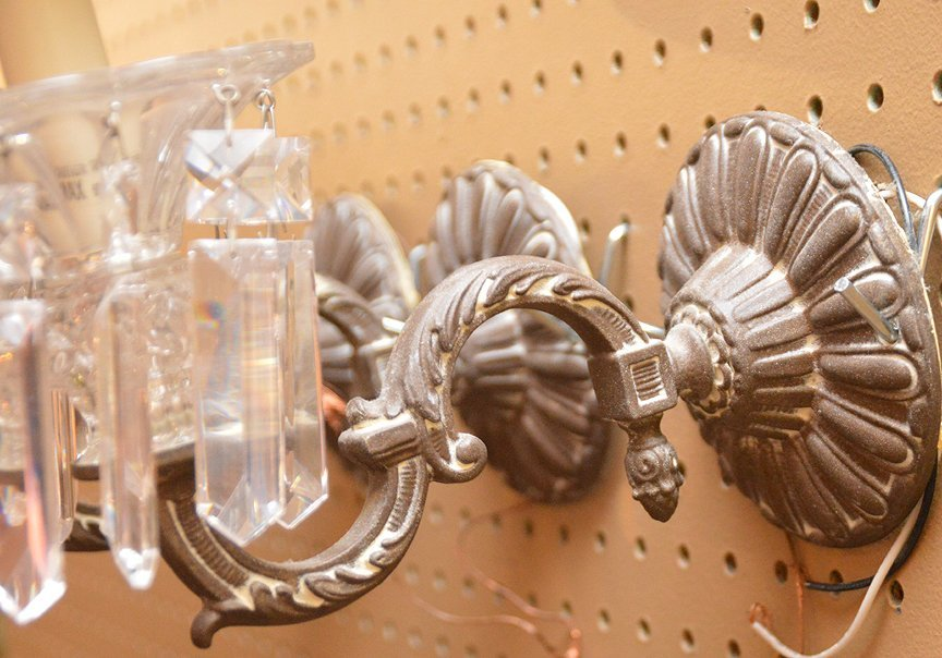 4 small fixtures w/ glass prisms - 3
