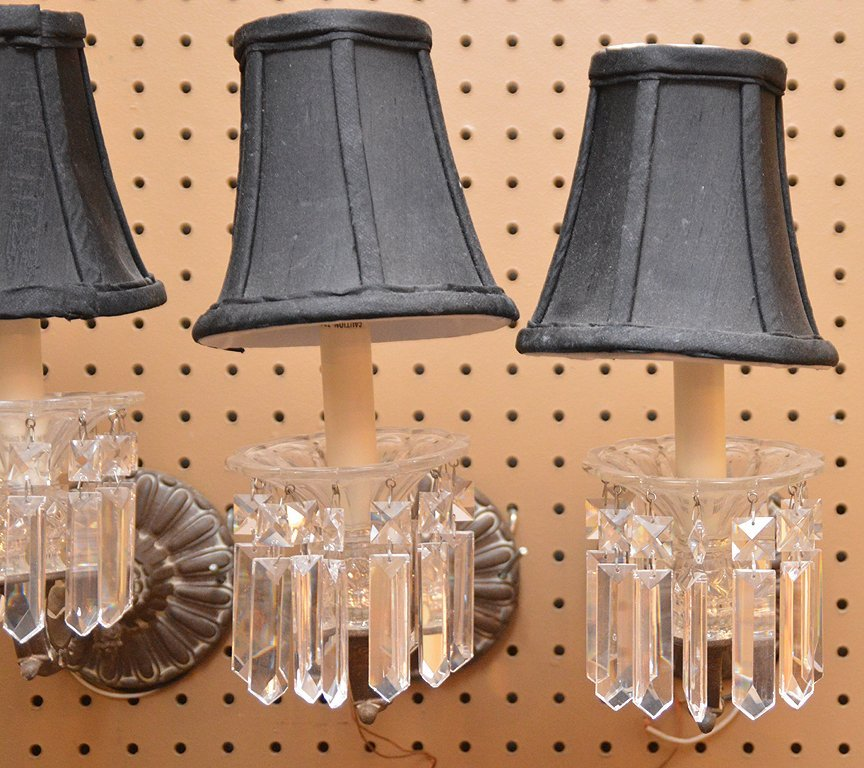 4 small fixtures w/ glass prisms - 4