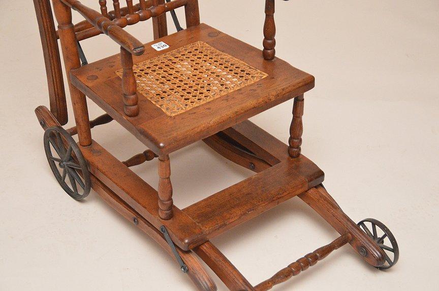 """Oak high chair, 19th c, 39 1/2""""h x 13 1/2""""w x 15""""d - 2"""