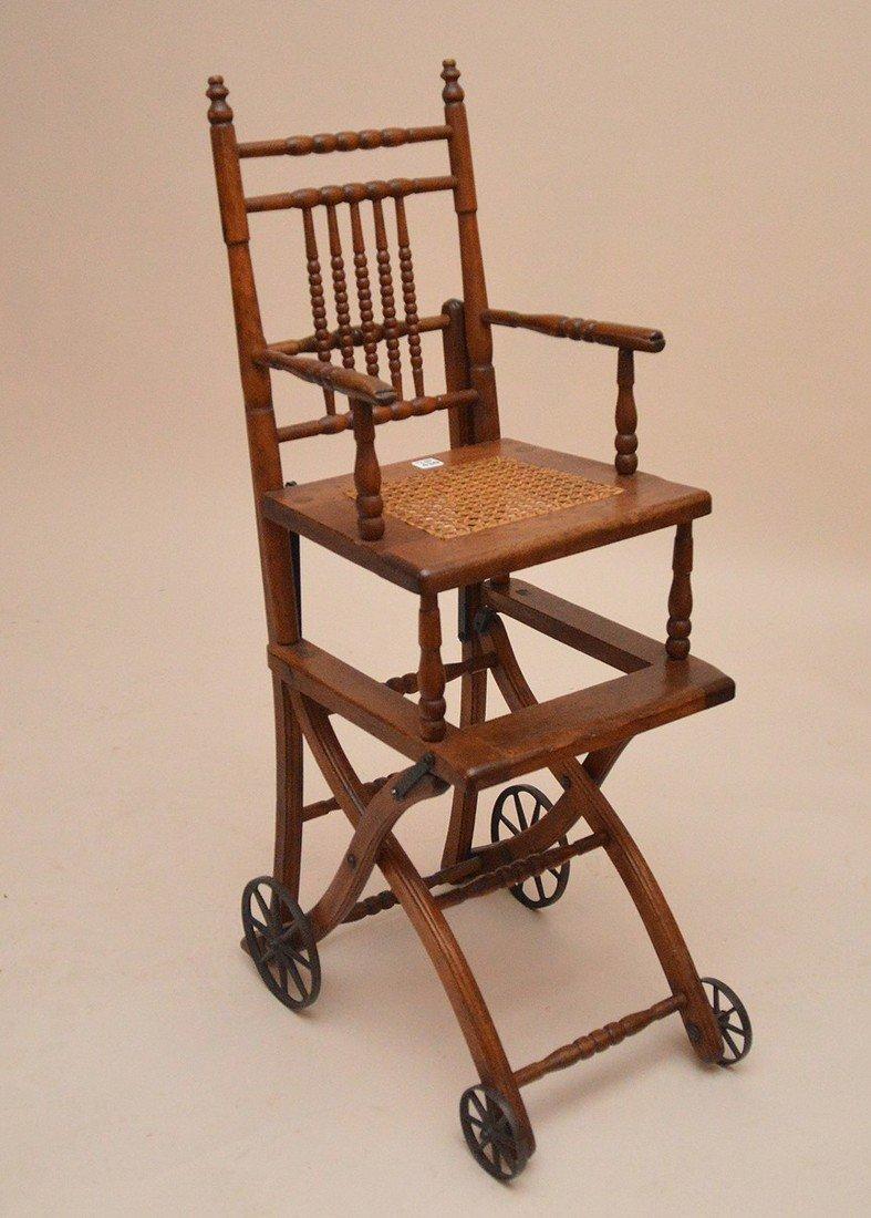 """Oak high chair, 19th c, 39 1/2""""h x 13 1/2""""w x 15""""d - 4"""