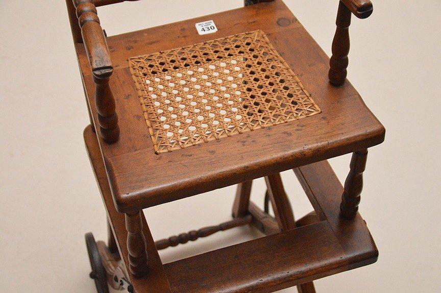"""Oak high chair, 19th c, 39 1/2""""h x 13 1/2""""w x 15""""d - 6"""