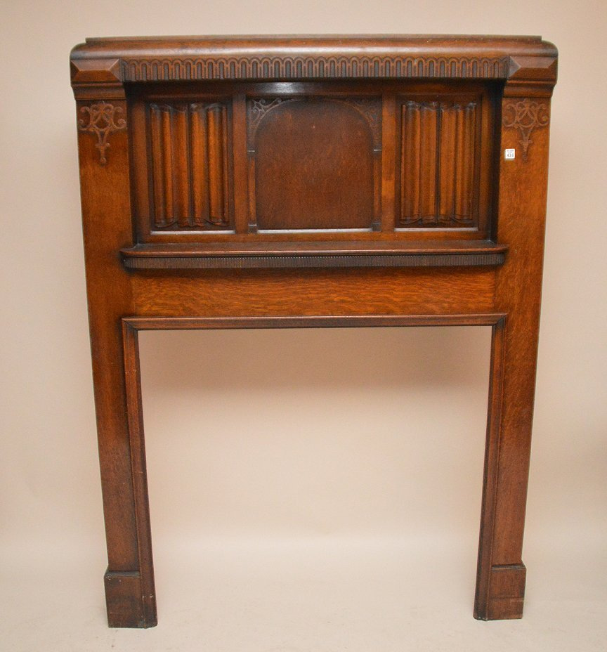 "Antique oak fireplace mantle, 72""h x 53""w"